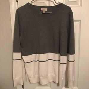 Loft white & gray color block Sweater